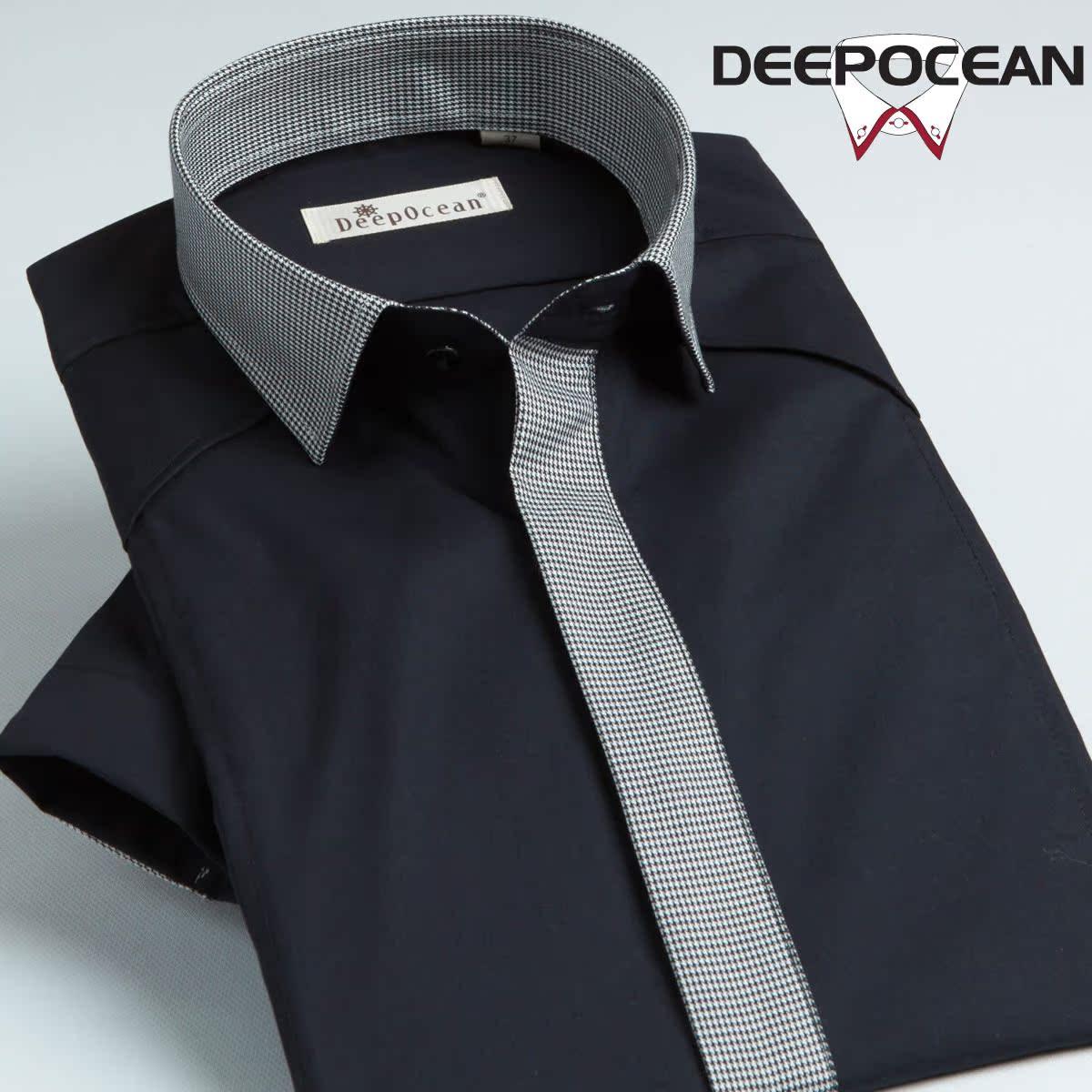 DEEPOCEAN-Цена поддельные галстук рубашки мужские короткий рукав тонкий черный Корейский рубашки случайные моды