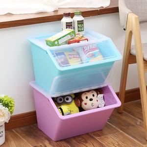 大号手提斜口收纳箱塑料有盖衣服儿童玩具零食品整理箱厨房储物箱