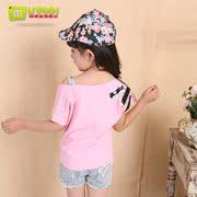 童装2014新款夏装韩版儿童圆领女童短袖T恤中大女童t恤露肩上衣潮