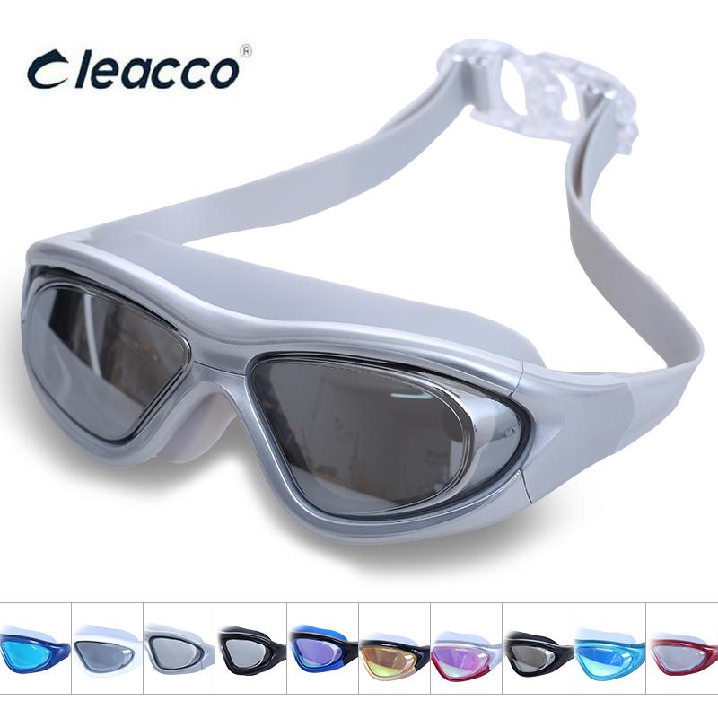 力酷遊泳鏡近視泳鏡高清防霧男女士防水成人平光大框電鍍遊泳眼鏡