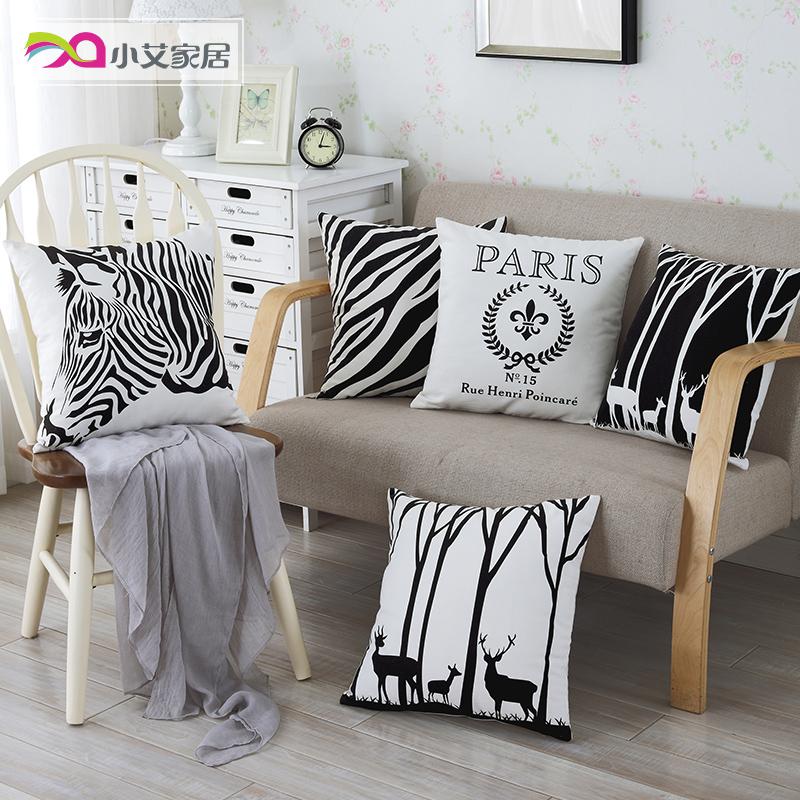 Чёрно-белая полоска зебра подушка содержит ядро современный простой современный офис комната диван автомобиль подушка спинка