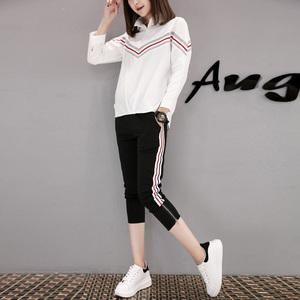 欧洲站2017春夏新款条纹运动休闲套装女七分袖衬衫女装裤子两件套