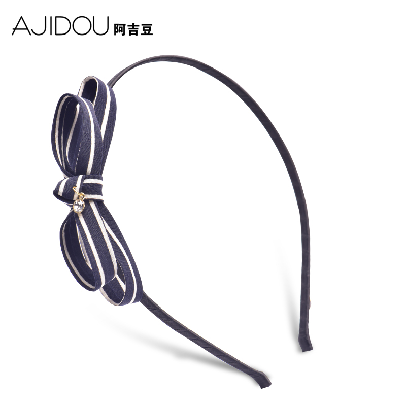 阿吉豆飾品韓國發箍女 簡約發飾條紋蝴蝶結發卡海軍風壓發頭飾