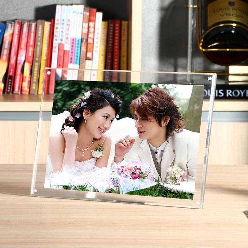 亞克力相框擺台7寸5 6 8 10 A4 水晶玻璃兒童婚紗照片畫框