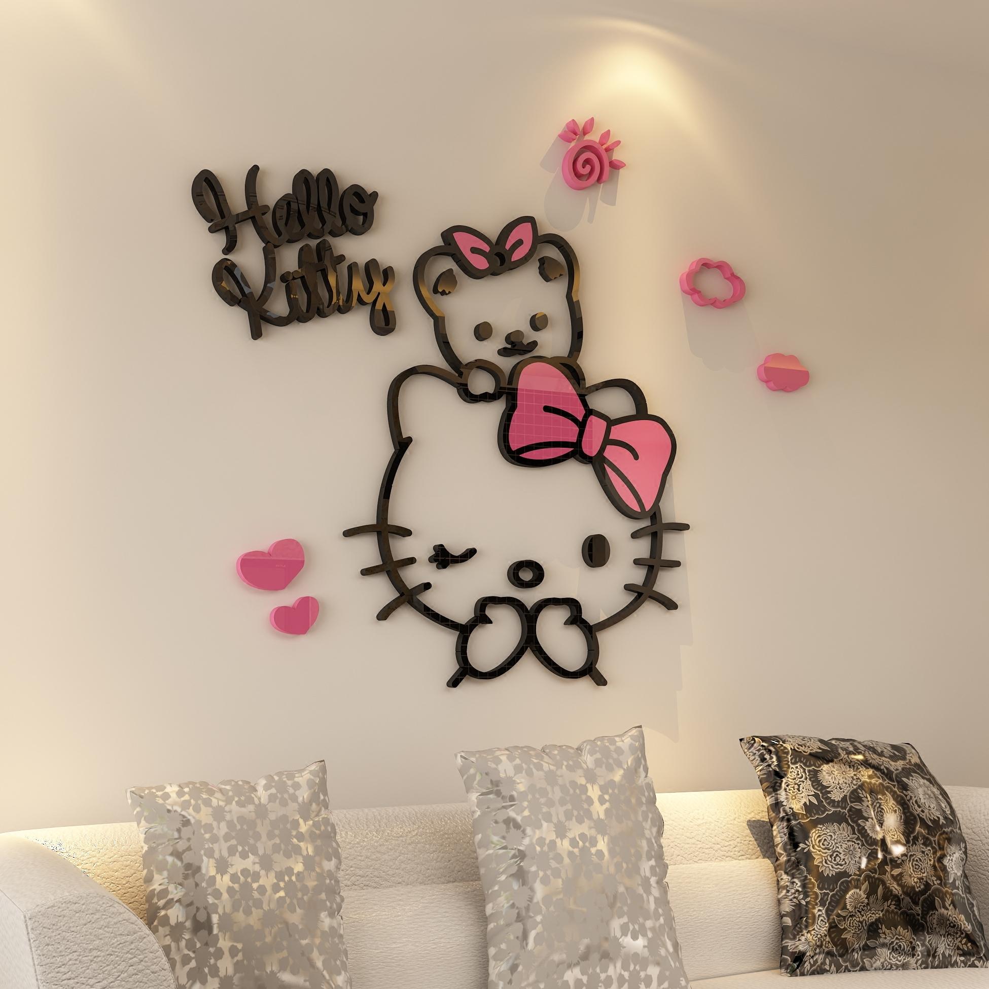券后15.00元kitty亚克力卧室客厅玄关电视沙发背景贴画墙贴家居饰品创意