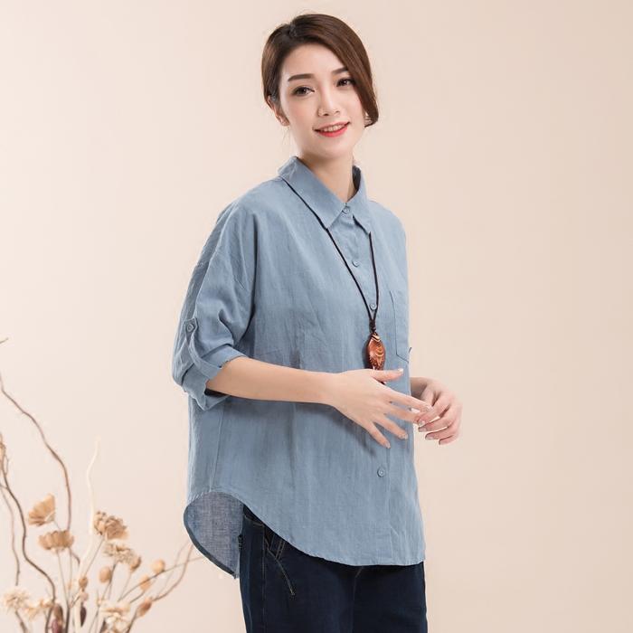 Loose linen Batman shirt Lapel solid cotton linen shirt long sleeve literary style linen womens pull sleeve linen cotton shirt