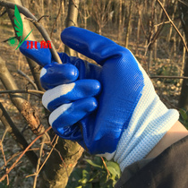 Blue semi-rubber gloves protective gloves protective gloves coated with soft glue anti-cutting sliding wear-resistant gloves