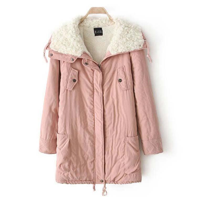 2015 года зимний сезон новый Корейский колледж Ветер Джокер ягнят шерстяное пальто лацкан длинным рукавом женщин куртка