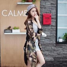 15 years autumn Korea camouflage letters printed chiffon raglan sleeve seven female is prevented bask in garment thin coat sleeve long shirt