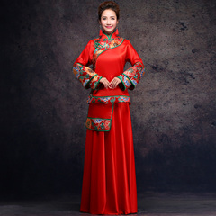 Purple Elf 2015 new show Wo suit jackets worn Chinese style of Dragon and Phoenix wedding dress bridal wedding toast clothing long cheongsam