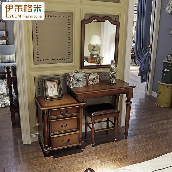 美式全实木简约化妆桌欧式卧室组合家具梳妆台化妆台韩宏