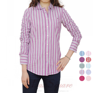Ms striped Tommy Hilfiger long sleeved shirt solid color cotton oxford shirt US purchasing genuine