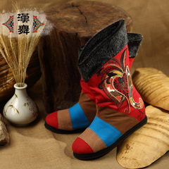 Chinese dance embroidered boots faux seal fur and cotton increased in high boots national wind spell warm female buxueling rhyme