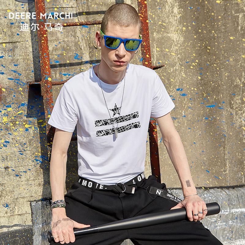 迪尔马奇2018夏季新品欧美简约男士圆领短袖T恤衫棉T恤M01623
