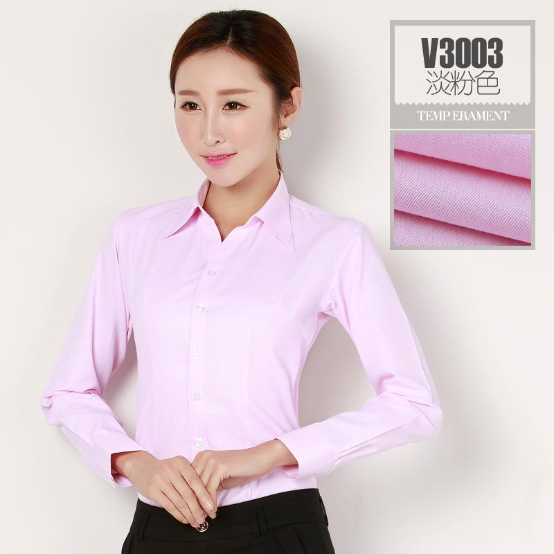 职业装女装白衬衫职业工装衬衣正装条纹工作服粉色加绒女长袖大码