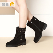 Shoe shoebox side Zip Boots PU fashion trends for fall/winter leisure quality round head square with boots women