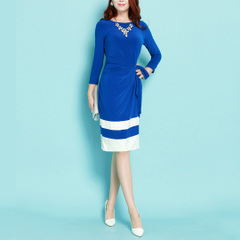 Happiness Waltz ~ limited edition in Europe and America long sleeve waistband stitching matching color white career stretch tube dress