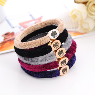 Know Connie hair accessories cashmere hair jewelry alloy ring in the Korean version of the high-end Crown hair elastic rope string