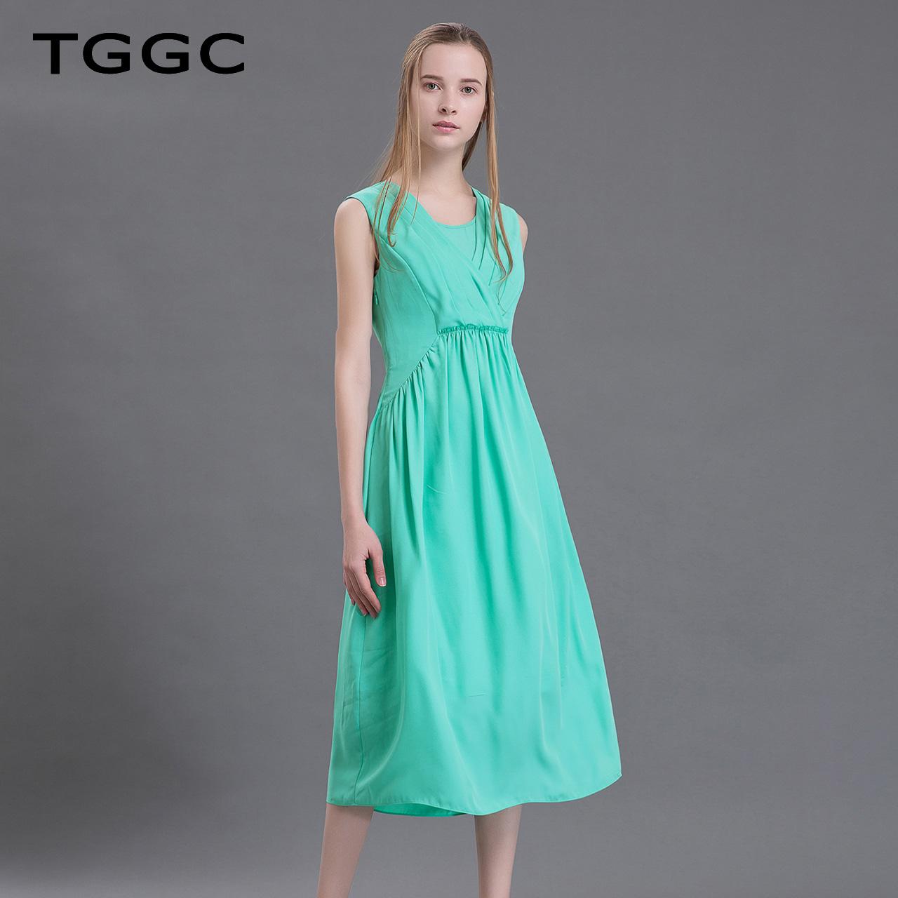 TGGC 2018年夏装 无袖修身高腰纯色气质雪纺女显瘦连衣裙 F20355