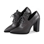 Strange love-fall 2015 new leather women's shoes with deep coarse high heel shoes head dress of England OL