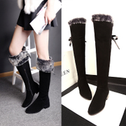 Full leather over the knee boots flat heel high boots leather rabbit fur women boots nubuck boots rabbit fur boots flat boots