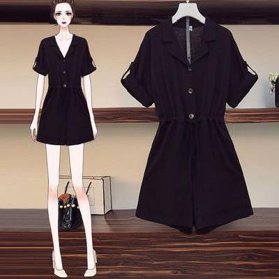 大码女装2020年夏装新款显瘦连衣裙短裤胖妹妹洋气时尚连体裤套装