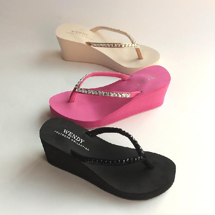 Wendy diamond flip flop womens summer anti slip high heel beach slipper
