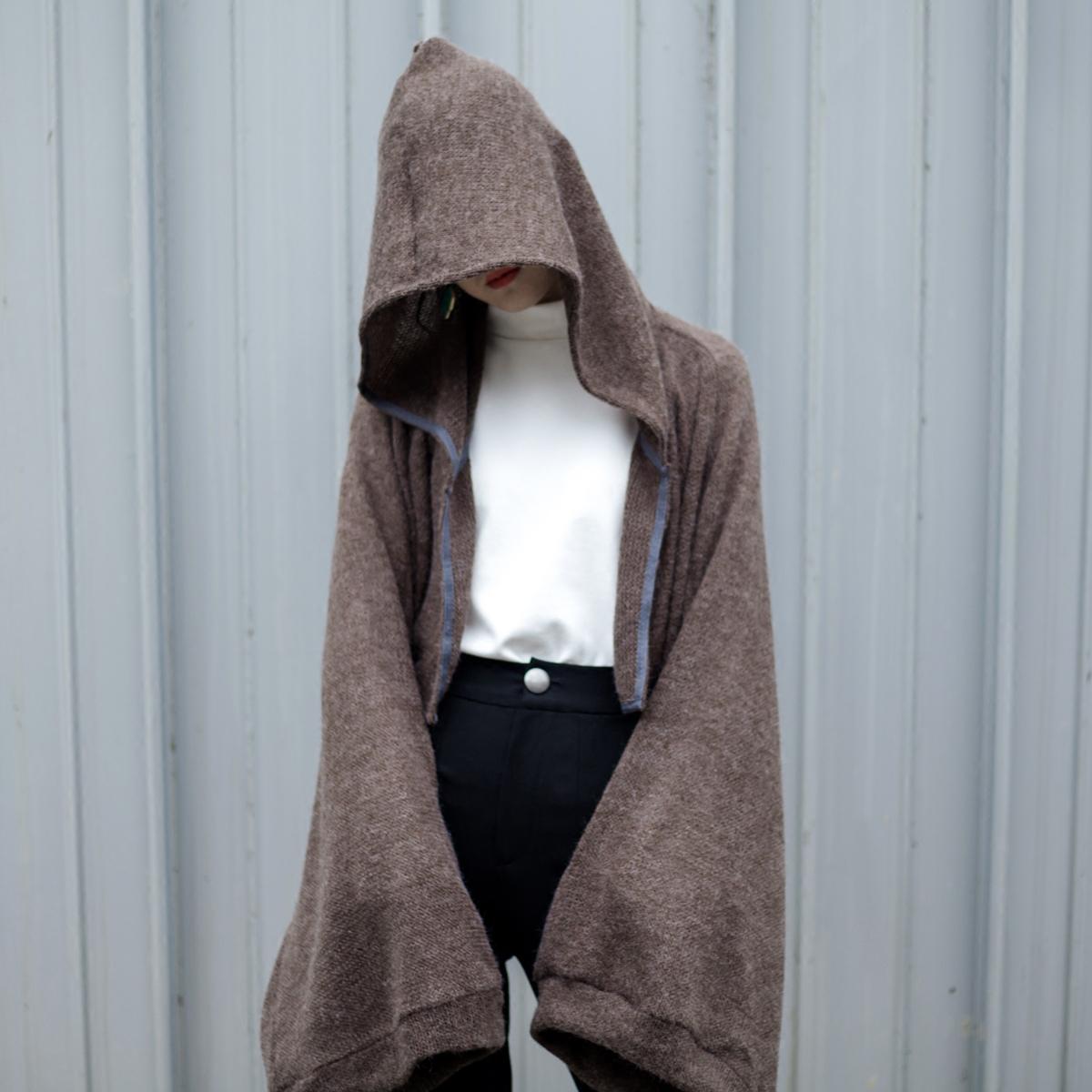 鱼一点原创设计百搭防晒加冷外套披肩围巾两用连帽外套针织上衣女