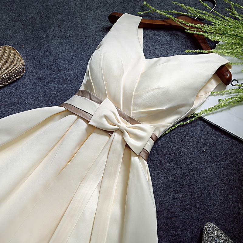 伴娘服短款2016 小禮服連衣裙伴娘團姐妹裙主持人女晚禮服