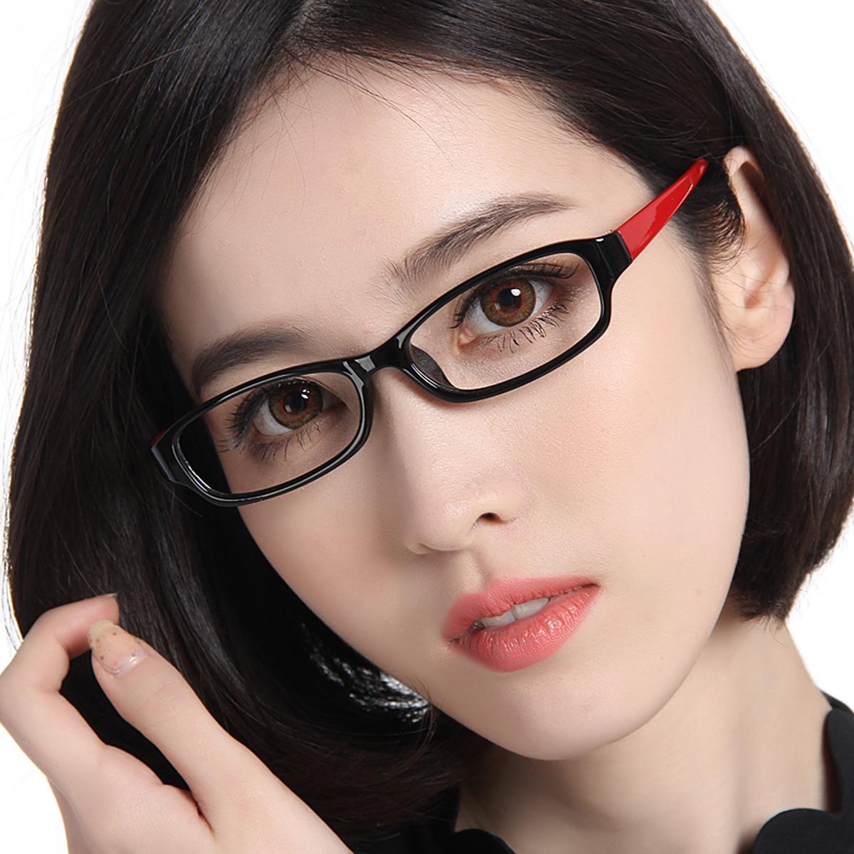 Очки для близорукости кадры Суперлайт TR90 женщин сталкиваются с круглым лицом с очки мода поле кадры мигает красным светом ноги