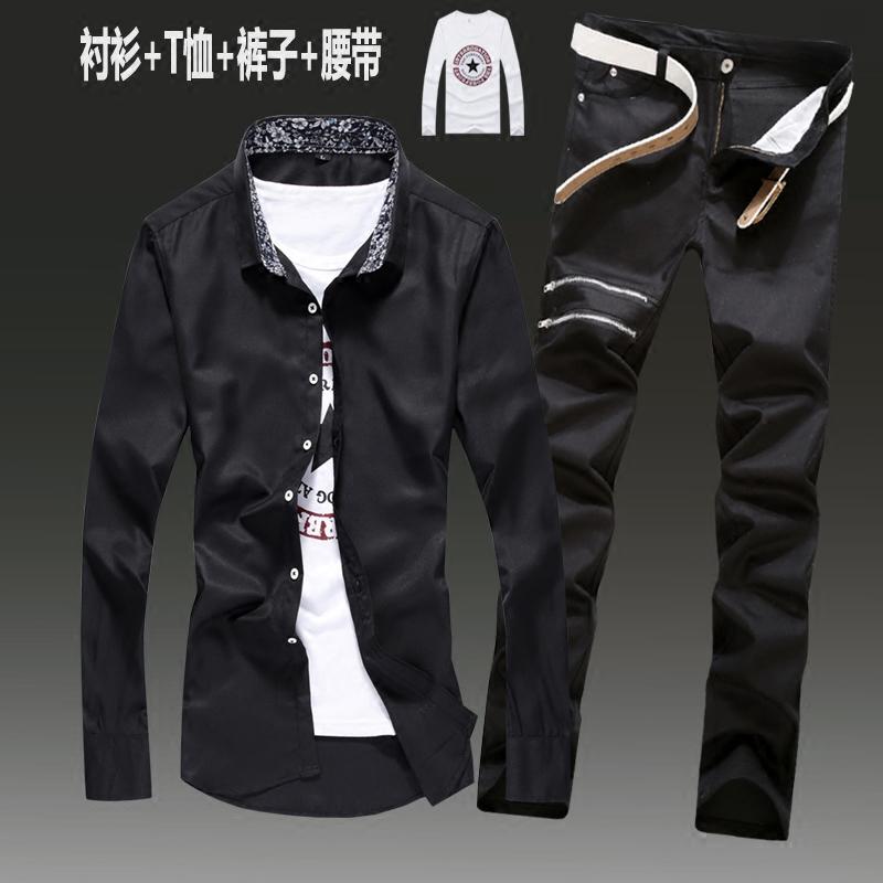 春秋季男式長袖襯衫男士修身牛仔褲一套裝休閑潮流寸衫襯衣服外套