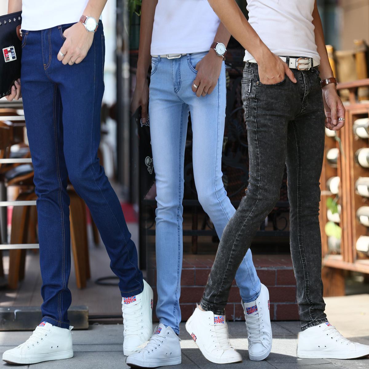 Тонкий стрейч джинсы мужской корейской версии подростков мужчин ноги бум весна/лето люди для похудения моды больше штаны
