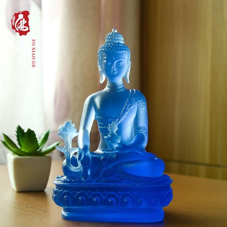 药师琉璃光如来树脂仿琉璃药师佛随身佛小佛像摆件19厘米结缘包邮