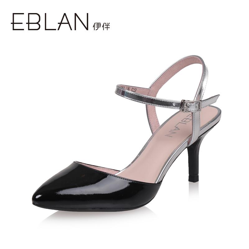 千百度集�F 伊伴EBLAN夏款羊皮高跟拼色通勤女式�鲂�B7239117