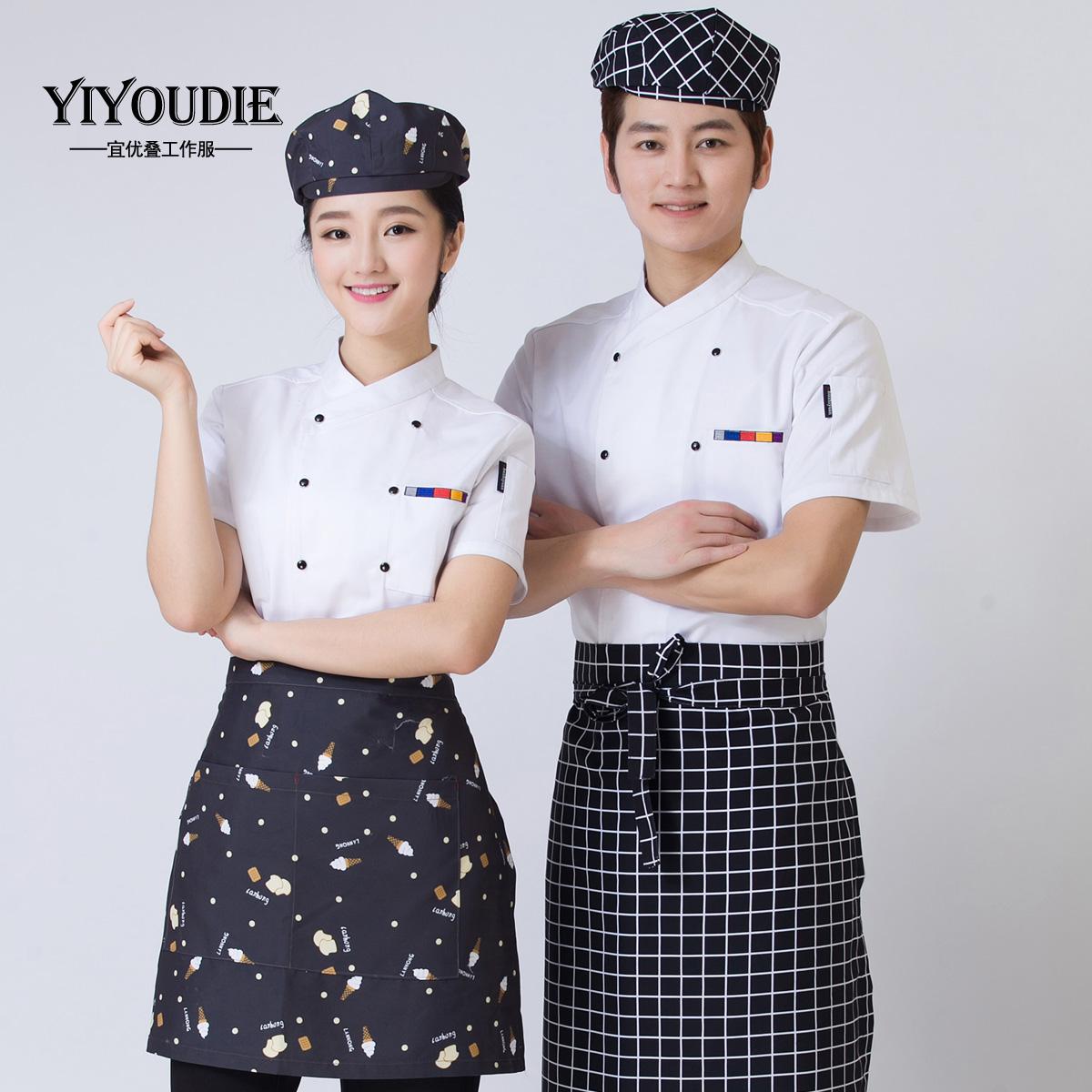 廚師服短袖夏裝酒店廚房後廚女西餐廳廚師長衣服黑廚師工作服半袖