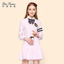 Eaton Jenny long-sleeved suit collar lady pure color sundresses institute of conventional Jenny pleated skirt sweet dress