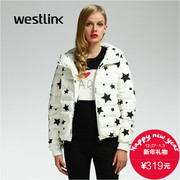 Westlink/West New Korean version 2015 winter black and white stars slim cropped hooded women down jacket