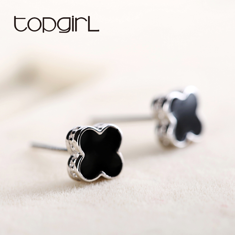 TOPGIRL四葉草耳釘925銀耳釘女黑色日韓氣質防過敏飾品 閨蜜