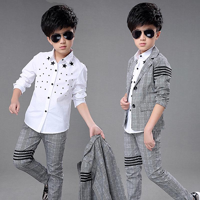 Ребятишки весна новый человек ребенок костюм корейский англия мода такой же, как у звезды рубашка хлопок в больших детей установите