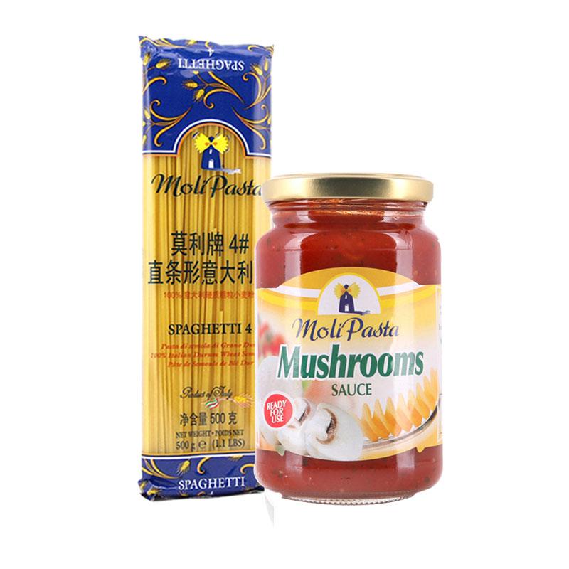 莫利意大利 4^#直身意麵500g 番茄蘑菇意麵醬350g