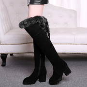 2015 new leather rabbit fur in autumn and winter with over the knee boots in Europe and coarse with stovepipe boots women boots