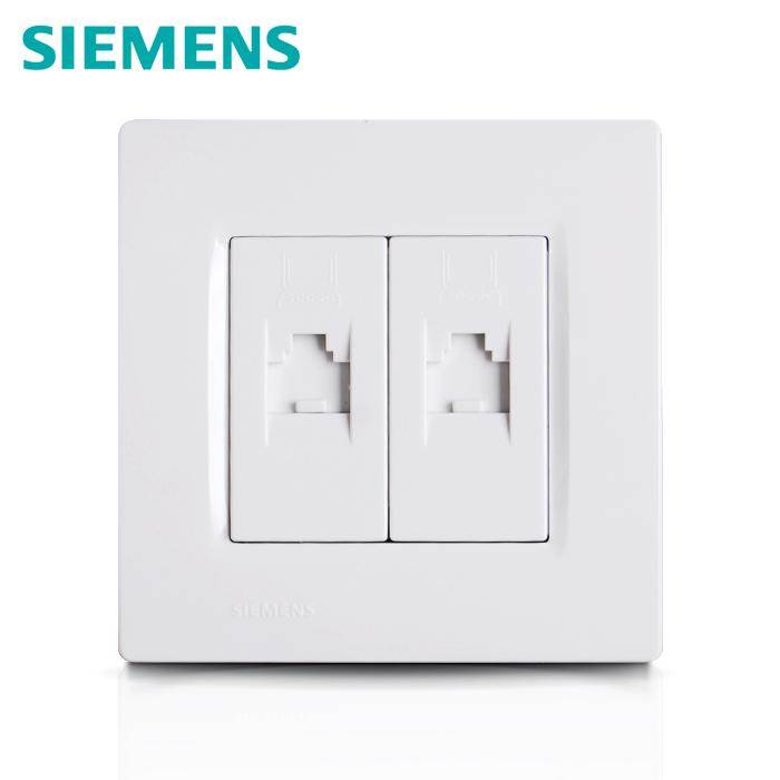 西门子开关插座面板灵动雅白系列二位电脑插座 双网线信息插座