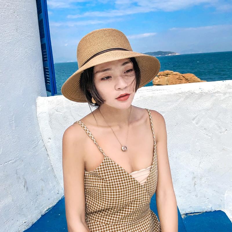 帽子女夏季遮陽帽可摺疊草帽出游度假帽子女春夏天沙灘帽送防風繩