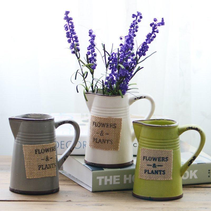 美式鄉村陶瓷彩色水壺花瓶 田園客廳辦公室插花器家居飾品擺件