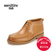 Westlink/West New 2015 winter simplicity Joker round leather lacing boots men's boots