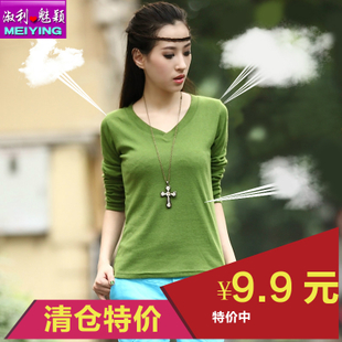 2014 spring new Korean loose long sleeved T shirt Slim large size women s V neck shirt casual shirt
