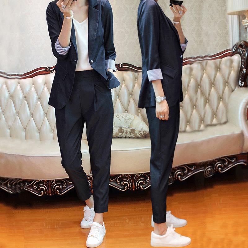 职业chic小西装外套秋装2018新款女气质套装韩版休闲时尚两件套夏
