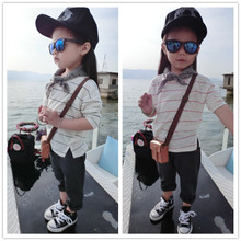 Children's wear autumn clothes girls stripe cotton long sleeve children render unlined upper garment of a T-shirt han edition child leisure female baby clothes
