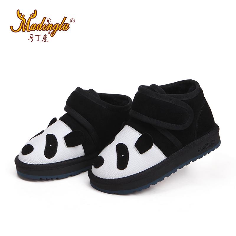 Мартин оленей обувь для 2016 овец зимой мех Panda мультфильм животных низк отрезало дети снега сапоги обувь мальчиков