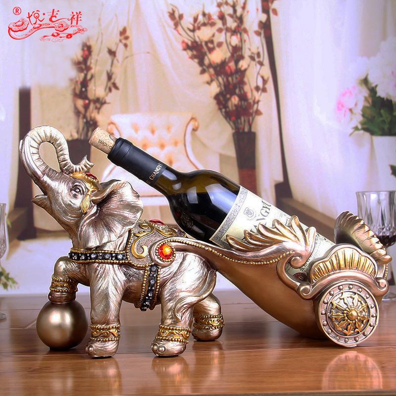 歐式大象紅酒架複古酒櫃招財擺件客廳家居 工藝裝飾品結婚